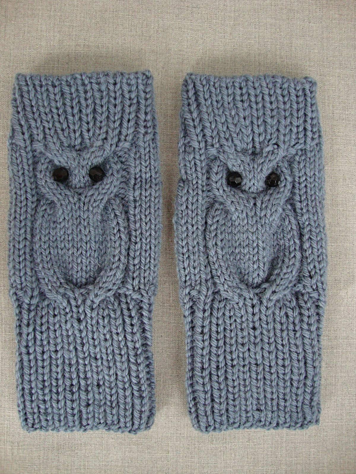 Вязание спицами митенки сова